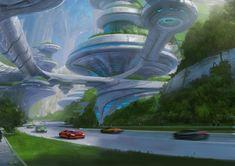Futuristic City, Futuristic Design, Futuristic Architecture, Art And Architecture, Fantasy City, Fantasy Places, Fantasy World, Science Fiction Kunst, Sci Fi City