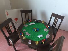 Miniature poker table with 4 chairs by cinen on Etsy
