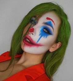 Joker-Make-up - Halloween Joker Halloween Makeup, Amazing Halloween Makeup, Halloween 2020, Halloween Costumes, Halloween Photos, Vintage Halloween, Halloween Party, Halloween College, Joker Costume