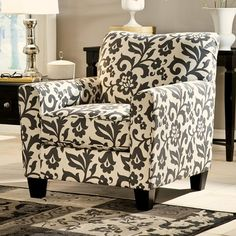 Signature Design By Ashley Levon Charcoal Accent Chair In Fl Print Check Home
