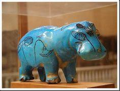Statuette d'Hippopotame Faience égyptienne. Première période intermédiaire-Moyen Empire