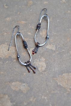 rustic oxidized silver hoops with sterling by StudioLunaVerde