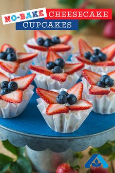 Step away from the oven! This No Bake Cheesecake Cupcake recipe is so yummy and perfect for the Fourth! Sprinkle coconut shreds on top of the berries for even more coconut flavor or try it with fresh kiwi, mango, pineapple or papaya for a tropical take on this simple dessert.