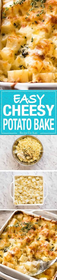 A faster, cheesier, creamier alternative to Scalloped Potatoes / Potato Gratin, this Easy Creamy Cheesy Potato Bake is made with cubed potatoes cooked in a cream and cheese sauce. Creamy Cheesy Potatoes, Cheesy Potato Bake, Easy Baked Potato, Vegetable Side Dishes, Vegetable Recipes, Vegetarian Recipes, Cooking Recipes, Skillet Recipes, Cooking Gadgets