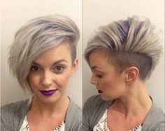 Granny hair color, but definitely not a granny hairstyle. Shaved one side, volume on the other. Could you rock this look? Girl Short Hair, Short Hair Cuts, Short Hair Styles, Short Girls, Pretty Hairstyles, Girl Hairstyles, Hairstyle Short, Hairstyles 2018, Medium Hairstyles