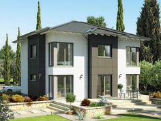 Evolution 165 V3 – Einfamilienhaus • Energiesparhaus von Bien-Zenker • Repräsentatives Fertighaus mit 2 Walmdach-Querhäusern und offener Küche • Jetzt bei Musterhaus.net informieren!