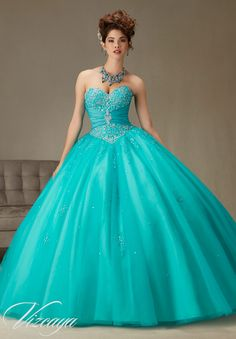 Quinceanera Dress  Vizcaya Morilee 89069 Two tone satin and tulle ball gown with beading Colors:Teal/Aqua