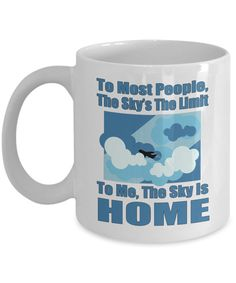 Pilot Mugs The Sky's The Limit Funny Flying Gift by JingleWares