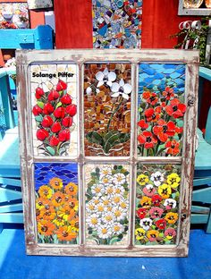 Mosaic Art, Mosaic Glass, Glass Art, Antique Windows, Mosaic Flowers, Stained Glass Projects, Window Frames, Beautiful Flowers, Whimsical