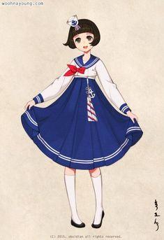 세일러복을 한복으로 변형해 보았습니다 :) 해군모자를 족두리처럼 작게 만들어서 씌우고, 노리개에는 닻 ...