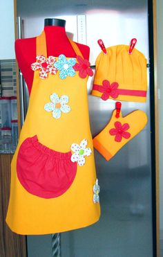 chef cap oven glove and double sided apron not a tutorial