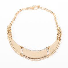 Rhinestone Antiqued Gold Necklace