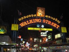 Walking Street is a famous hotspot part of the city of Pattaya, located on the east coast on the Gulf of Thailand. Thailand Travel, Asia Travel, Small Condo, Pattaya Thailand, Walking Street, Beach Road, Southeast Asia, East Coast, Night Life