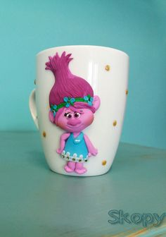 Troll princess Poppy polymer clay mug