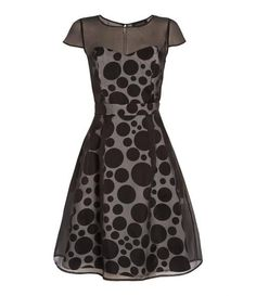 such a cute dress, love the polka dots and sheer top.