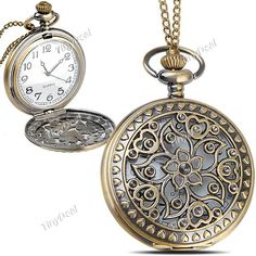 Hollow Style Round Case Quartz Pocket Watch Portable Watch Timepiece with Chain for Female Male WUS-114889