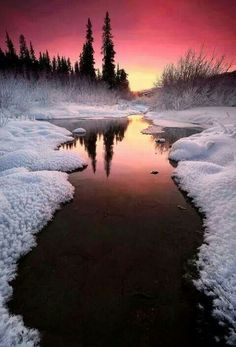 Winter sunset in Alaska - landscape, winter, sunset, alaska. Beautiful Sunset, Beautiful World, Beautiful Scenery, Simply Beautiful, Absolutely Stunning, Pretty Pictures, Cool Photos, Amazing Photos, Beautiful Winter Pictures