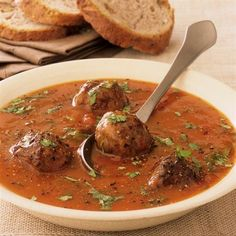 Apounduquerque Ground Beef and Pork Meatball Soup - Smith's Food and Drug Czech Recipes, Ethnic Recipes, Beef And Pork Meatballs, Soup Recipes, Cooking Recipes, Meatball Soup, Goulash, Eat Smarter, Food 52