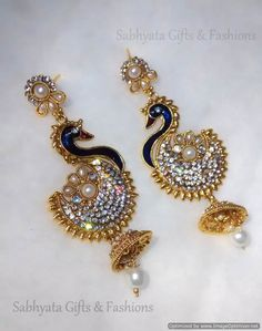 Peacock shape pearl dropping polki #danglers get online with #craftshopsindia