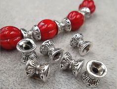 50 pçs/lote new retro duplo de lótus 8 * 8 bead caps para colares pulseiras diy jóias acessórios
