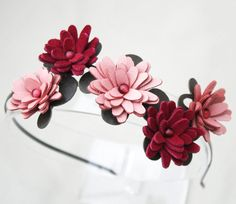 Flower headband pink red leather and suede daisies green leaves bridal hairpiece woodland wedding hair accessory tiara prom wearable art