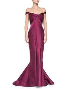 Origami Off-the-Shoulder Gown, Plum by Zac Posen at Neiman Marcus.