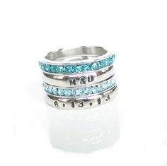 Stackable Personalized Ring, Name Ring, Birthstone, Anniversary, Engraved Gift  #Stackable