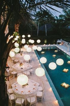 Another option of floating candles in the pool. Also, since we'll be dancing by the pool, I'd like the area to be super dim lit. What do you think about these lights overlooking the pool? The only other option would be to light the area up with candles? Garden Party Wedding, Bali Wedding, Garden Parties, Summer Wedding, Wedding Venues, Dream Wedding, Wedding Ideas, Wedding Backyard, Wedding Inspiration