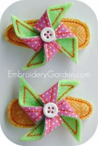 Pinwheel Hair Clippies Machine Embroidery  Design from Embroidery Garden joant55   FREE Samples @ http://twurl.nl/02km5h