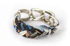 Bangle Bracelet - Fabric Jewelry - Spring Fashion - Womens Accessories - Tan Blue Black