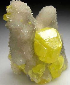 Sulfur on Aragonite from Sicily, Italy (Marin Mineral Company)