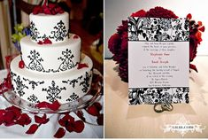 red, black and white cake/ invitations