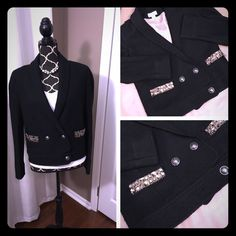 Loft Rhinestone Pocket Wool Jacket Beautiful black wool jacket with rhinestone detail on the pockets from the Loft.  Size 4 and it is lined.  Perfect for when the weather is changing – can double as a blazer in the office and a wool jacket outside. Only worn a couple times. Excellent condition and looks great on! LOFT Jackets & Coats Blazers