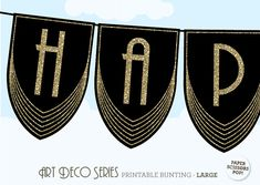ART DECO Birthday Bunting Banner Great Gatsby by PaperScissorsPop