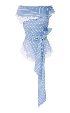 Jonathan Simkhai Off Shoulder Lace Trim Peplum Top