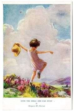 "Margaret Tarrant postcard ""Over the hills and far away' 