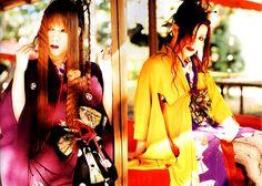 Mayu and Machi (Lareine) Gyaru, Yukata, Visual Kei, Gothic Lolita, Harajuku, Kimono, Scene, Punk, Leather Jacket