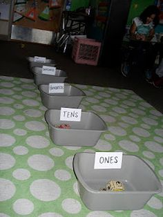 Place value bean bag toss-child tosses 10 bean bags while rest of class writes down number/expanded number.