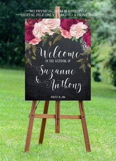 burgundy wedding sign burgundy welcome sign by OurFriendsEclectic