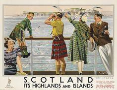 Vintage British travel poster - Scotland, Highlands and Islands Tartan & Tweed Vintage Advertising Posters, Vintage Travel Posters, Vintage Advertisements, Poster Vintage, British Travel, British Seaside, British Isles, Posters Uk, Railway Posters