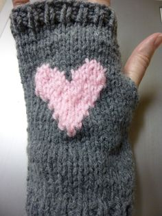 Grey with Light Pink Heart Wrist Warmers / Fingerless by SweetRoxs