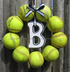 For all those Home Run balls!!!! Softball Love Wreath - with letter! Use initial or school logo.