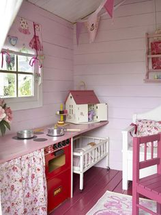 Shiplap and wood floors painted a fun girly color! And I love the idea of beadboard for the ceiling. Shiplap and wood floors painted a fun girly color! And I love the idea of beadboard for the ceiling. Playhouse Decor, Playhouse Interior, Girls Playhouse, Backyard Playhouse, Build A Playhouse, Painted Playhouse, Playhouse Ideas, Cubby Houses, Play Houses