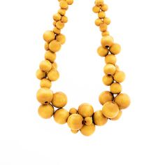 Your place to buy and sell all things handmade Wooden Bead Necklaces, Wooden Beads, Cluster Necklace, Beaded Necklace, Bubbles, Buy And Sell, Yellow, Handmade, Stuff To Buy