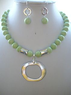 Soft Lime Green Jasper Bead Necklace with by DesignsbyPattiLynn, $60.00