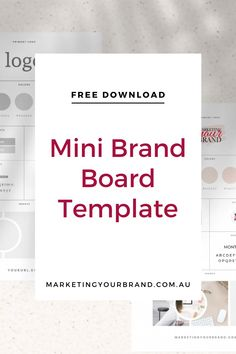 Free Mini Brand Board Template by Marketingyourbrand.com.au | Are you stuck in a logo colour daze? Need to create something better? Simply DOWNLOAD OUR TEMPLATE, then SAVE it AND experiment with fonts, colours, textures, moods and patterns – FREE on CANVA! #businesstips #brandingtips #branding #moodboard #businessresources #marketing