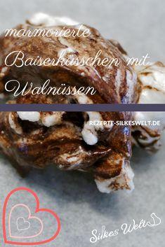 Marmorierte Baiser - Küsschen mit Walnüssen, was kann einem Eiweiss besseres passieren? Sie sehen nicht nur lecker aus, sie schmecken auch noch gut.  Eine tolle Resteverwertung von Eiweiß und auch ein schönes Geschenk aus der Küche. #Baiser #meringue #glutenfrei