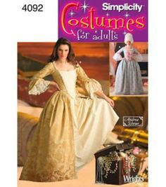 Simplicity 4092 Marie Antoinette French Century Gown Elizabeth Swann Renaissance Costume Pattern Size 18 and 20 Victorian Dress Costume, Costume Dress, Car Costume, Victorian Dresses, 1920s Dress, Victorian Fashion, Elizabeth Swan Costume, Costume Marie Antoinette, Le Bourgeois Gentilhomme
