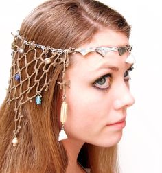 Caught at Sea - Mermaid Headdress. A beautiful, casual and dressy headdress for a proper fish-girl. Mermaid Under The Sea, The Little Mermaid, Mermaid Headpiece, Mermaid Crown, Mermaid Parade, Circlet, Headdress, Headbands, Hair Accessories