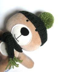 Plush teddy bear rag green hat scarf handmade soft cuddly toy by meilingerzita